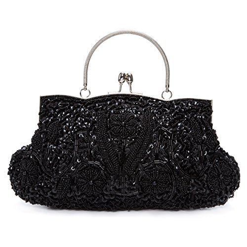 Chichitop Beaded Sequin Design Flower Evening Purse Large Clutch Bag,Black -
