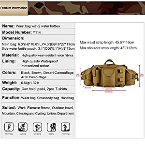 Protector Plus Tactical Waist Pack Bag With Water Bottle Pocket Holder Military Fanny Packs Waterproof Hip Belt Bag Pouch for Hunting Camping Trekking