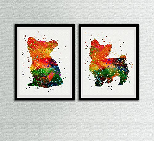 York Shire Watercolor Art Prints Set Home Yorkie Lover Wall Decor Artworks Wall Art Dining Room Art Wall Hanging Decor House Warming (York Water)