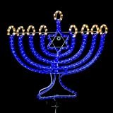 Blue LED Rope Light Menorah Rope Light Display Kit (Static Warm White Tips)