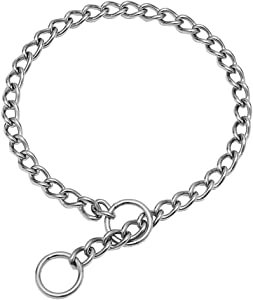 SGODA Chain Dog Training Choke Collar, 304 Stainless Steel, Total Length 20 in, 2.5 mm