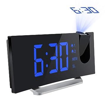 547043c91085 Mpow FM Radio Reloj Despertador con Proyector de Alarma Dual con 4 Sonidos