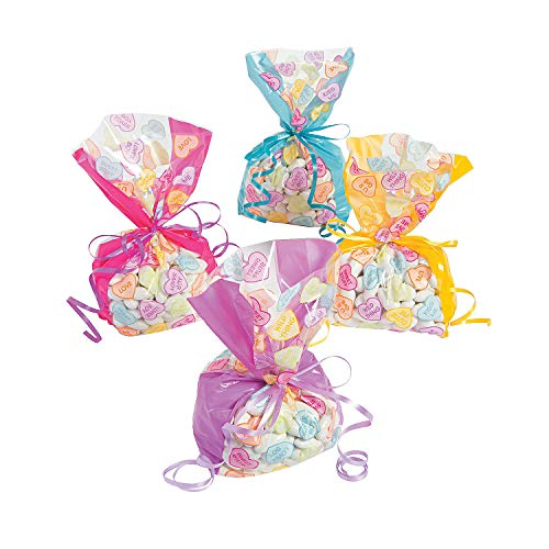 Fun Express - Conversation Heart Cello Bags for Valentine's Day - Party Supplies - Bags - Cellophane Bags - Valentine's Day - 12 ()