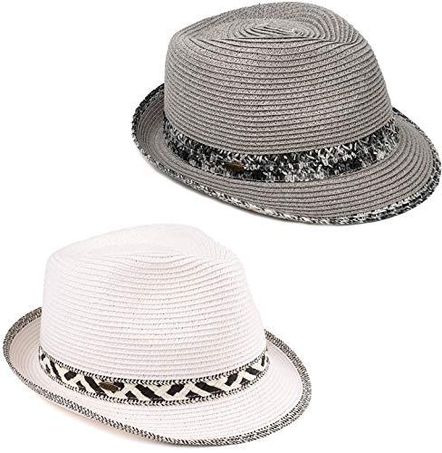 H-6108-2-5132309 Fedora 2 Pack - Grey w/ Thick Band & White