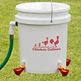 Automatic Premium Chicken Waterer Bucket Kit - New Version Cups (from Holland) - Auto Float Valve (Made in USA) (4 Cups)