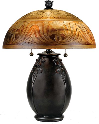 Quoizel QJ6781TR Glenhaven Etched Amber Glass Table Lamp, 2-Light, 120 Watts, Teco Rossa (18