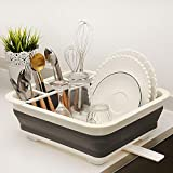 Ahyuan Collapsible Kitchen Dish Drying Rack with Adjustable Swivel Sprout Dish Rack Dish Strainers for Kitchen Counter Camper Drainer for RV Camping Marine Dish Tub (White/Grey)