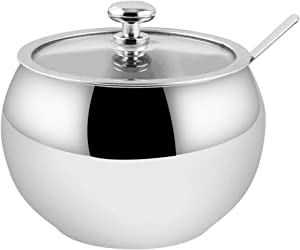 Hillvo Stainless Steel Sugar Bowl with Clear Lid and Spoon for Home and Kitchen, Drum Shape