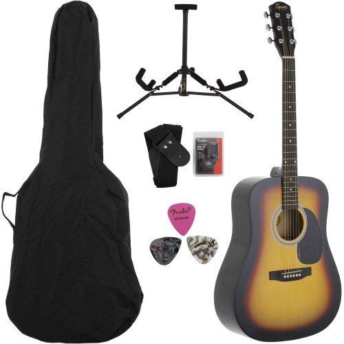 Squier by Fender SA-105 Acoustic Guitar - Sunburst Bundle with Gig Bag, Tuner, Strings, Strap, Picks