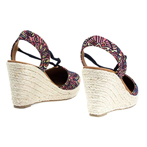City Classified Espadrille Platform Wedge D'orsay Pump w Sling Back & Elastic Strap Multi A7wtSi5hU