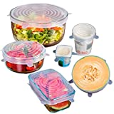 ThreeCat Set of 6 Silicone Stretch Lids Reusable Food Bowl Cover Wrap Cooking Kitchen Gadgets(Clear Lucite)