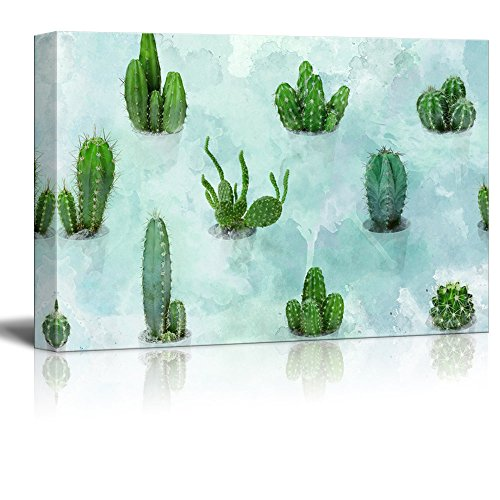 Various Cacti on Abstract Watercolor Background