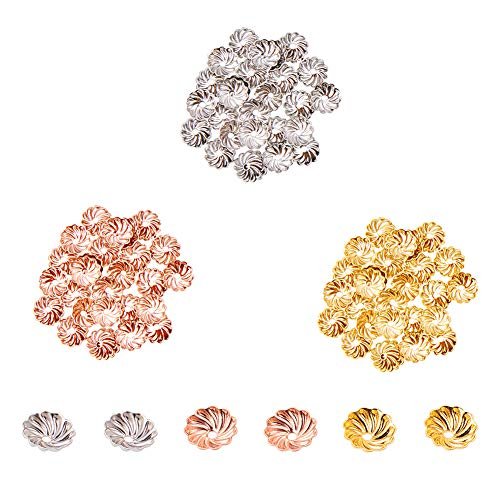 - PandaHall Elite About 600 Pcs Brass Flower Petal Bead Caps Spacers 7x2mm for Jewelry Making, Golden, Silver and Rose Gold