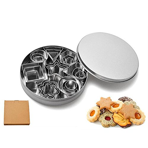 (WOTOY Stainless Steel 24 Pc Set Geometric Shapes Cutters, Mini Cutters Including Pentagram, triangle, hexagon, square, ellipse, circle, heart-shaped, flower Molds for Pastry, Fondant, Donuts, Clay)