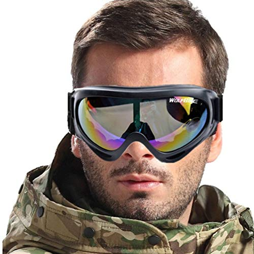 Nihlsen Coupe-Vent Lunettes de Protection en Plein air Lunettes de Protection Moto Lunettes de Ski Protège-Yeux réglable Anti-Rayures - coloré