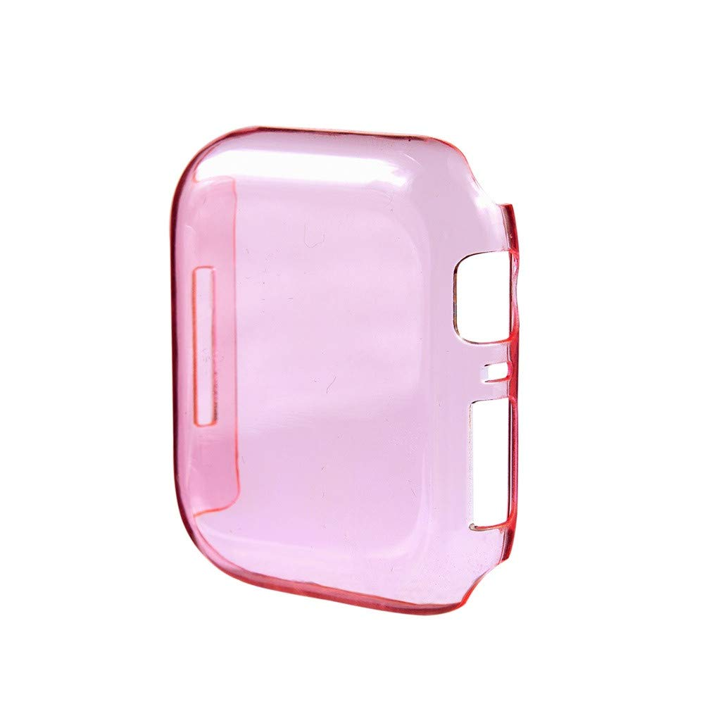 SUKEQ Apple Watch Series 4 40mm Case, 2018 New Slim Clear PC Hard Screen Protector Bumper Cover Skin Shell for iWatch Series 4 40mm (Pink)