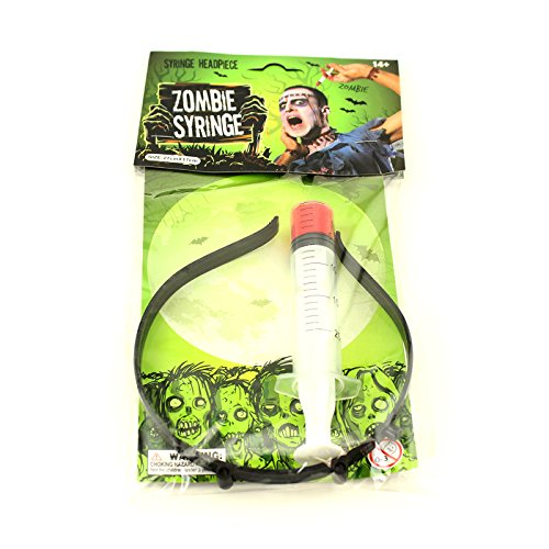 Adorox Zombie Syringe Bloody Gory Headpiece Scary Dead Halloween Costume Prop (3pc) -