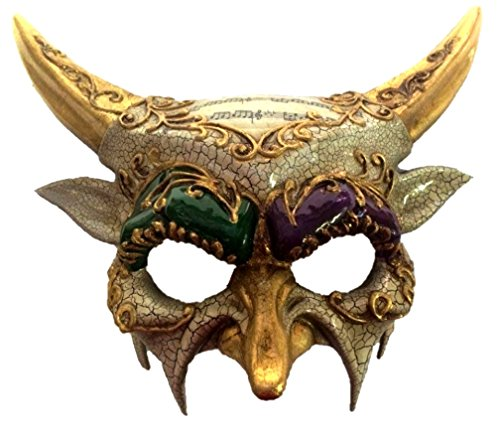KBW Global Corp Mardi Gras Horned Devil Party Half Mask Adult Mens Venetian Costume Accessory