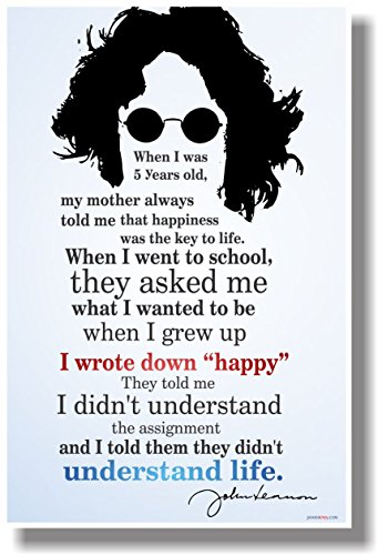 "I Wrote Down ""Happy"" 2 - John Lennon - NEW Classroom Motivational Poster"