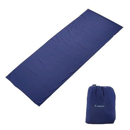 El forro del saco de dormir con bolsas de almohada previene las colecciones de ropa de cama sucia, un juego de sábanas de cama liviana y portátil ...
