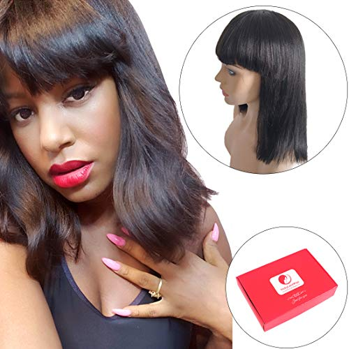 Brazilian Human Hair Bob Wigs with Bangs Yaki Machine Made Glueless Short Wigs with Wood comb and Wig Cap (12 Inch, Natural Color) (Natural Color)