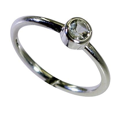 Green Amethyst 925 Silver Rings For Women Round Shape Bezel Style