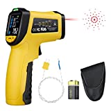 URCERI Infrared Thermometer IR-818-58°F~1382°F (-50°C~750°C) Digital IR Temperature Gun Non Contact Laser with Color Display K-Type Thermocouple for Cooking Kitchen Food Meat Grill