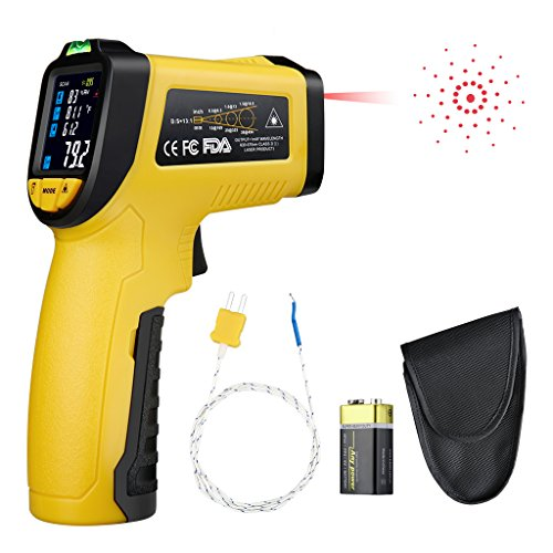 Urceri Infrared Thermometer Ir 818 58 F 1382 F   50 C 750 C  Digital Ir Temperature Gun Non Contact Laser With Color Display K Type Thermocouple For Cooking Kitchen Food Meat Grill