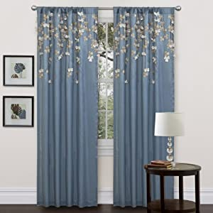 Amazon Com Lush Decor Flower Drop Curtain Panel Blue