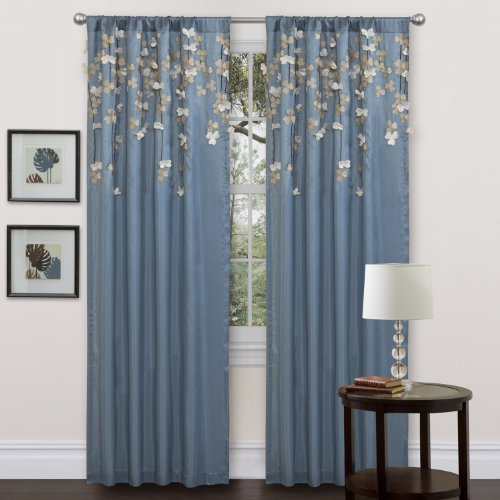 Lush Decor Flower Drop Curtain Panel, Blue (Curtains Pretty)
