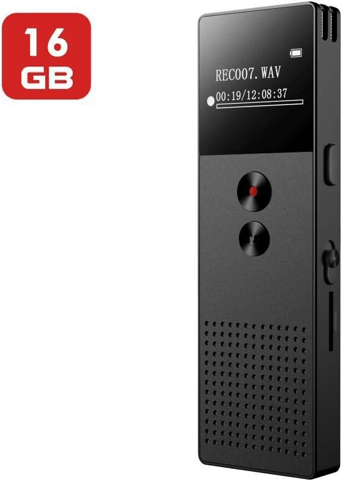 Mibao Grabadora de Voz Digital Portátil,HD Grabador de Sonido con Reproductor de MP3, Micrófono Incorporado Externo, Reducción de Ruido, Baterías Recargables
