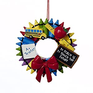 Teacher Crayon Wreath Ornament by Kurt Adler 11