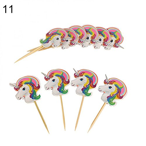 Braceus Unicorn Theme Party Supplies Decoration Happy Birthday Paper Cup Plate Hat Box Size Toothpick 10Pcs