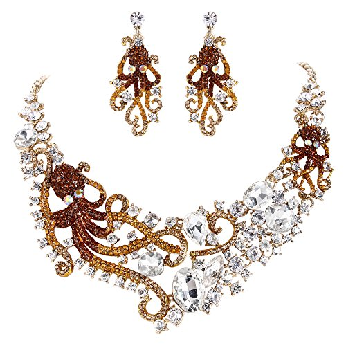 EVER FAITH Rhinestone Crystal Octopus Necklace Earrings Set Brown w/Clear Gold-Tone ()