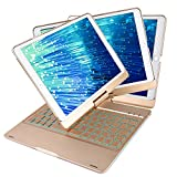 Smart Case for iPad Pro 10.5 inch with Keyboard,7 Colors Side Breathing LED + Backlits All around 360 Rotation Anti-scratch/Slip Ultra-slim Keyboard Case for Apple iPad pro 10.5(Gold)