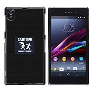 Paccase / SLIM PC / Aliminium Casa Carcasa Funda Case Cover para - Caution Symbol Slogan Quote Sign Zombies - Sony Xperia Z1 L39 C6902 C6903 C6906 C6916 C6943