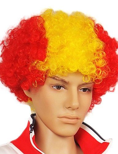 [Wigs have an attractive convenience fashion Capless Football Fans Party Wig(Spanish Flag Colors)] (Halloween Costume Ball Nyc)