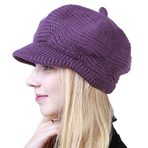 Women's Winter Hat Slouchy Cable Knit Visor Crochet Beanie Hats Warm Snow Ski Skull Cap with Brim Dark Purple
