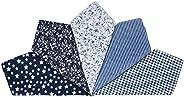 Houlife 5-10 Pieces 100% Cotton Black Floral Printed Handkerchief Elegant Hankies for Women Ladies Girls Weddi