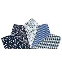 Houlife 5-10 Pieces 100% Cotton Black Floral Printed Handkerchief Elegant Hankies for Women Ladies Girls Wedding Party