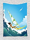 XHFITCLtd Ride The Wave Tapestry, Sexy Woman Sailing in Waves with Gulls Flying in the Sky Illustration, Wall Hanging for Bedroom Living Room Dorm, 60 W X 80 L Inches, Sky Blue Teal