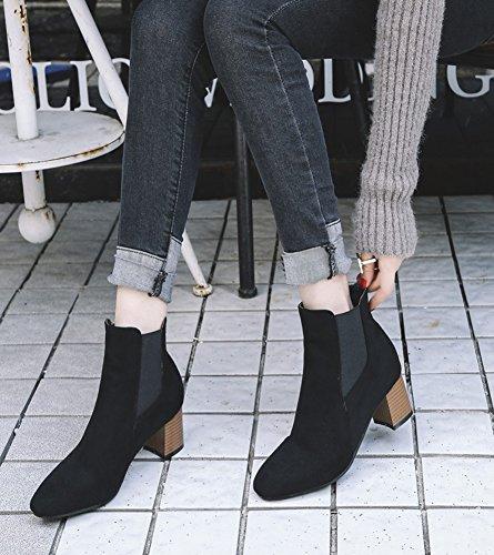 Aisun Damen Quadratische Zehen Blockabsatz Kurzschaft Chelsea Boots Stiefel Schwarz