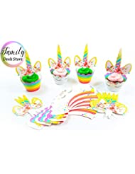 Unicorn Cupcake Toppers and Double Sided Wrappers 24 Pack Set Party Decorations
