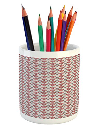 Lunarable Native American Pencil Pen Holder, Abstract Tribal Pattern with Horizontal Triangles Ornamental Ethnic Motifs, Printed Ceramic Pencil Pen Holder for Desk Office Accessory, Multicolor (Horizontal Bar Pattern)