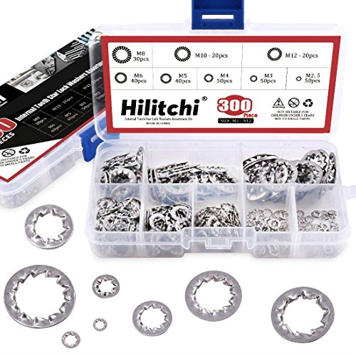 Hilitchi 300-Pcs 304 Stainless Steel Internal Tooth Star Lock Washers Assortment Kit - Included: M2.5 M3 M4 M5 M6 M8 M10 ()