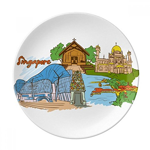 Sinapore Flavor Safari Museum Cathedral Dessert Plate Decorative Porcelain 8 inch Dinner Home