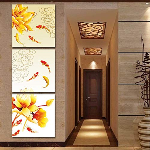 ALENIS 3 Pieces Koi Fish Lotus Goldand Chinese Oil Painting Feng Shui Wall Pictures for Living Room - Chinese Art Lotus Flower