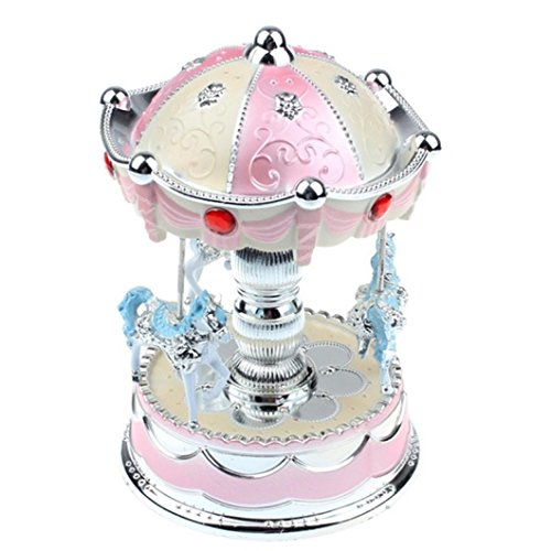 KingWo Merry-Go-Round Music Box Christmas Birthday Gift Carousel Music Box Children Birthday Christmas Gift Toy Collection Home Decoration (Pink)