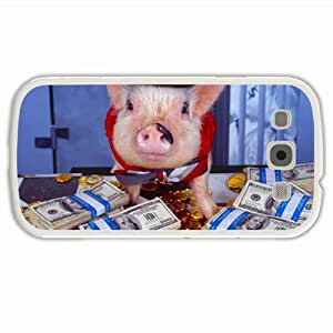 tailor Samsung GALAXY SIII/3 Phone Cases Animals pig costume money hat gold of Innervation Present White Cell phone Skin For teen Girls