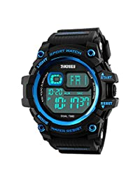 BesWlz Men's Digital Sport watch Multifunction Two Timezone 24H Military Time LED Back Light 50M Water Resistant Calendar Month Day Date